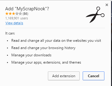MyScrapNook extension permissions