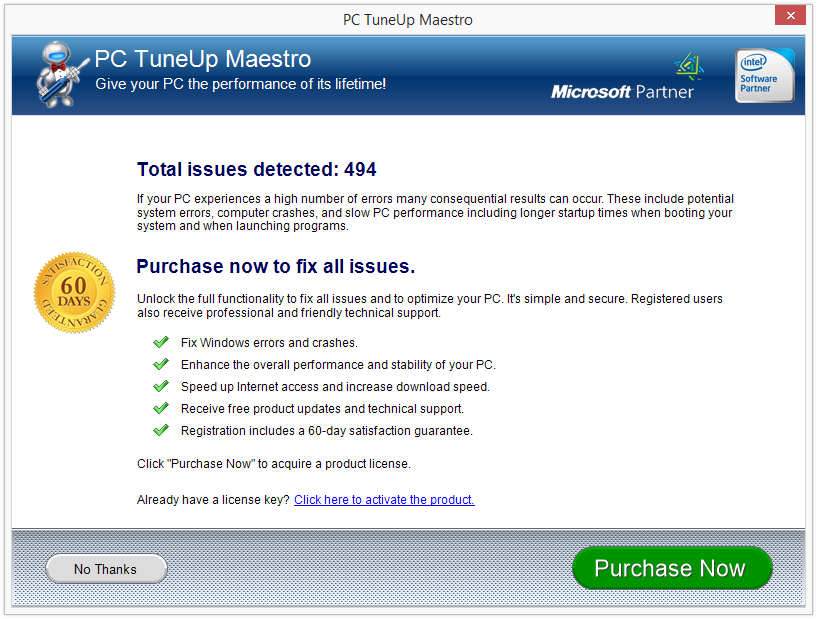 PC TuneUp Maestro scan results