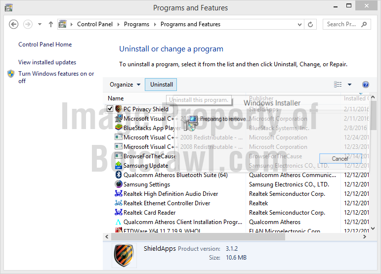 uninstall pc privacy shield