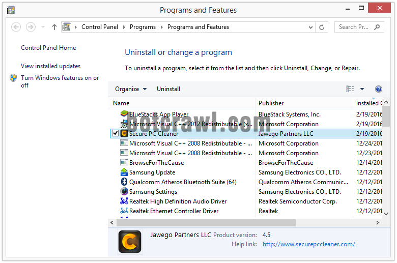 uninstall secure pc cleaner