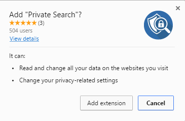 Private Search extension permissions