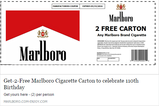 """Get-2-Free Marlboro Cigarette Carton to celebrate 110th Birthday"" Survey Scam"
