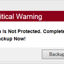 PC Backup 360 critical warning pop up