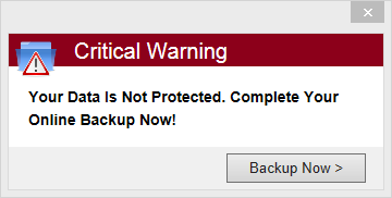 PC Backup 360 critical warning pop up