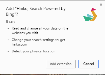 Haiku, Search Powered by Bing extension
