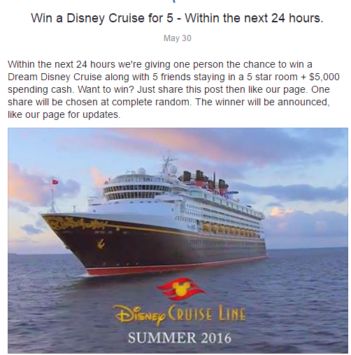 Win a Disney Cruise for 5 - Within the next 24 hours
