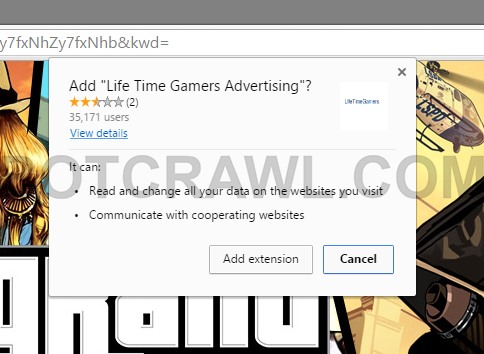Life Time Gamers Advertising extension