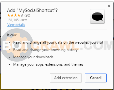 MySocialShortcut extension