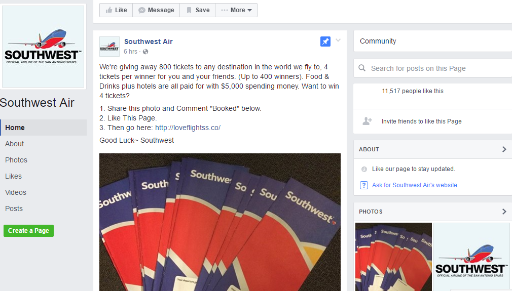 Southwest Air is not giving away 800 tickets to Facebook users