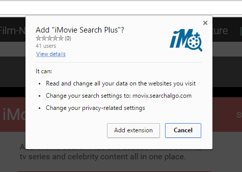 iMovie Search Plus extension permissions