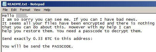 PayDOS ransomware note