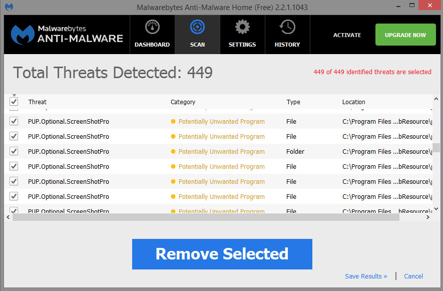 ScreenshotPro Malwarebytes