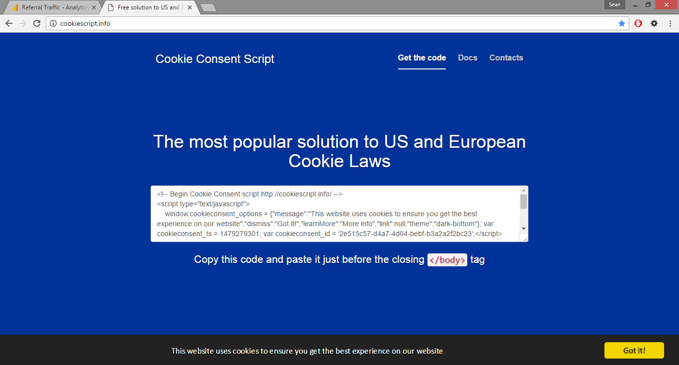 cookie consent script