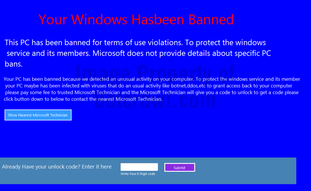 your windows hasbeen banned