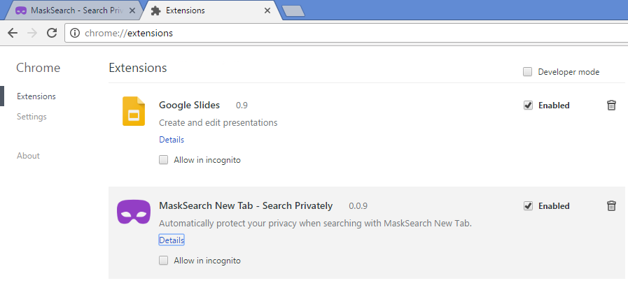 MaskSearch New Tab - Search Privately