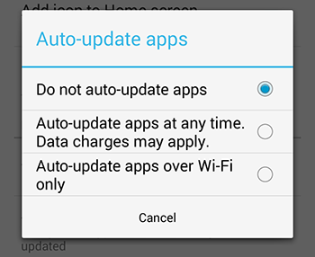 How to turn auto updates on and off (Android)