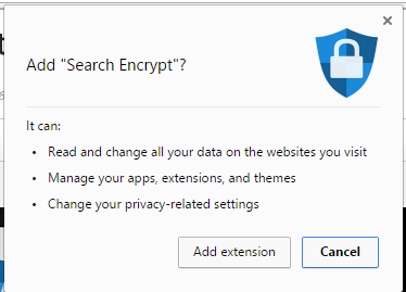 search encrypt extension permissions google chrome