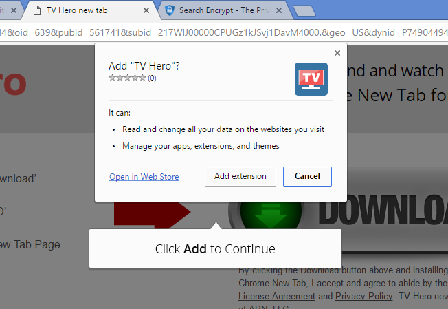 tv hero extension google chrome