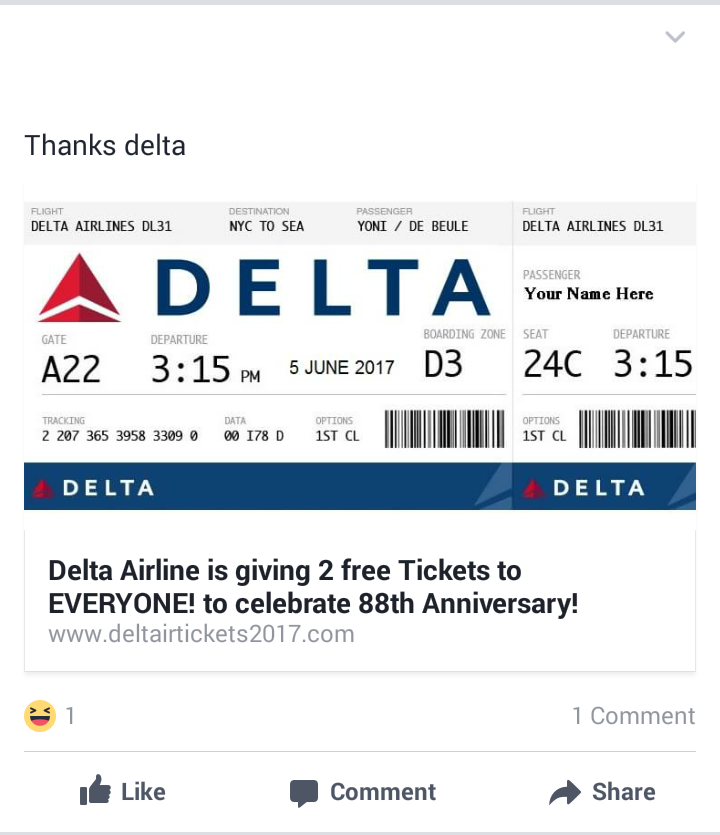 Delta Air Lines is not giving away 2 free tickets