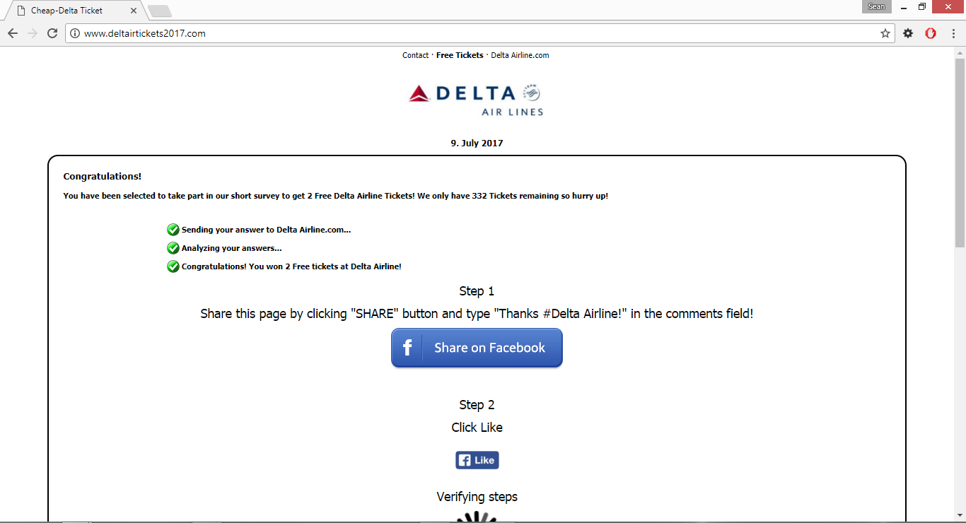 Delta Airline is giving 2 free Tickets to EVERYONE