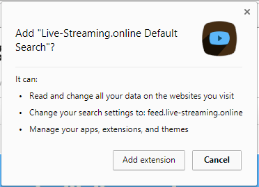 Live-Streaming.online Default Search extension