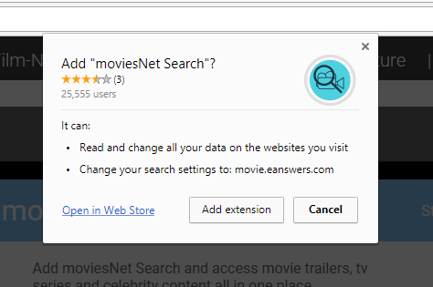 moviesNet Search extension permissions