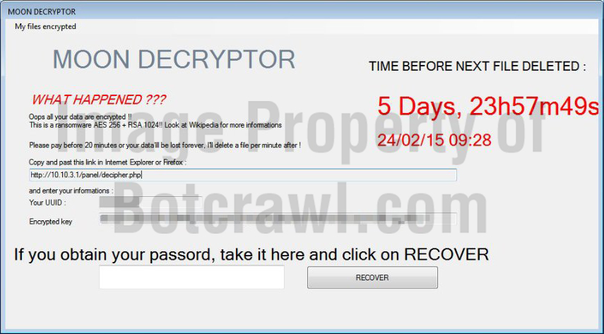 How to remove cmoon virus (Ransomware) - BOTCRAWL