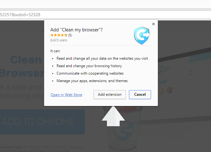 Clean my browser extension