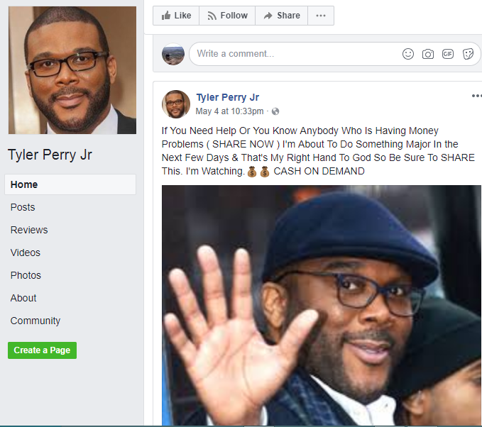 fake tyler perry facebook giveaways