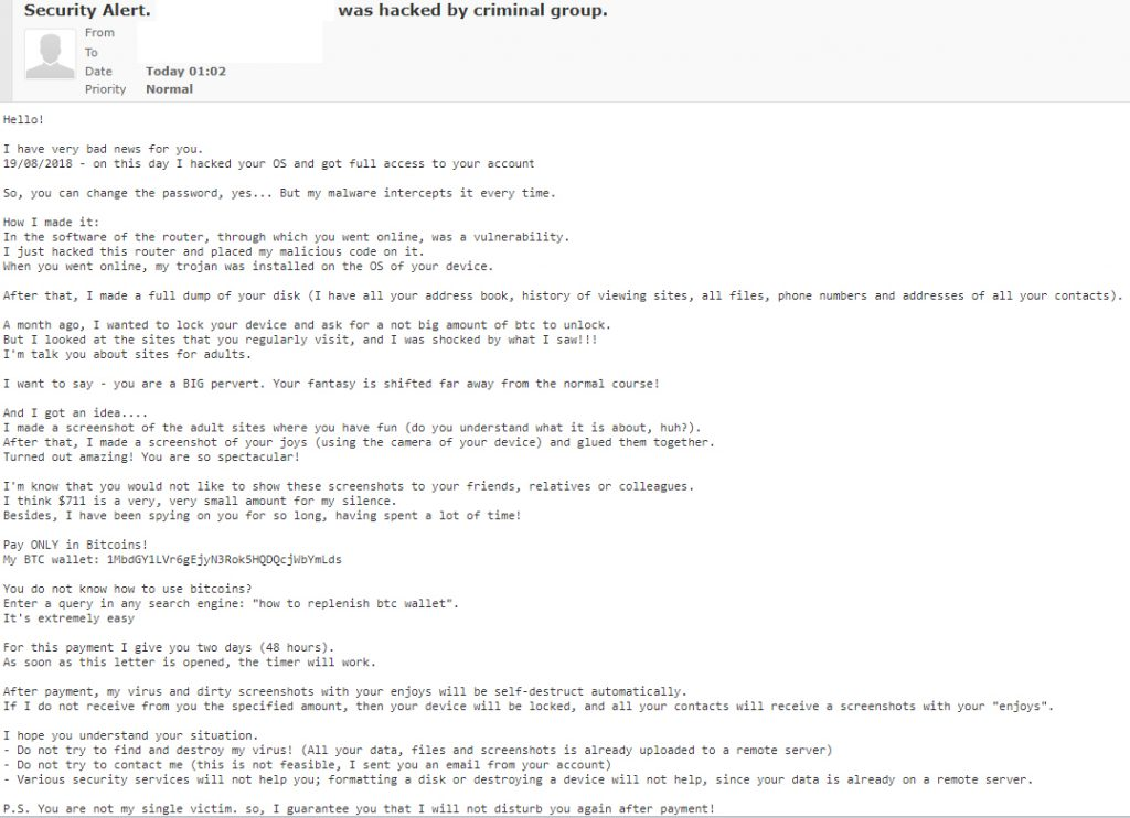 Your email was hacked by criminal group' email scam - Botcrawl