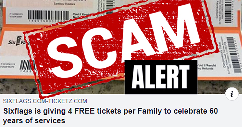 Six Flags is not giving away 4 free tickets to celebrate 60 years