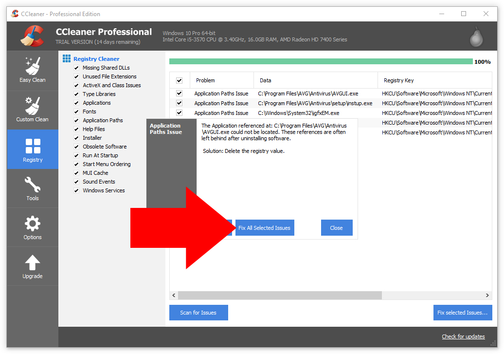 ccleaner fix all selected issues