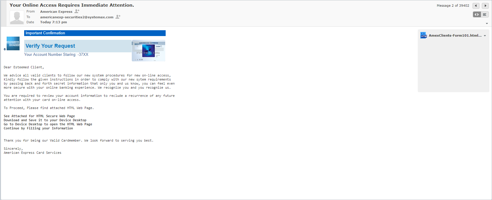 Fake American Express Email Says Your Account Requires