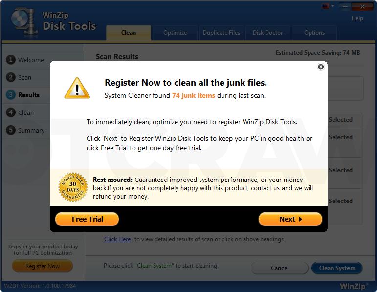 WinZip Disk Tools virus