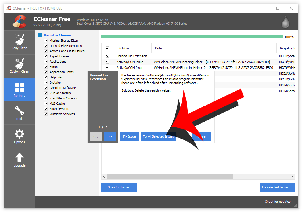 fix all selected issues ccleaner